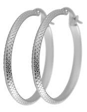 Titanium Titan Ohrhänger Ohrringe Klapp Creolen Kreolen Silber dünne Damen 35 mm