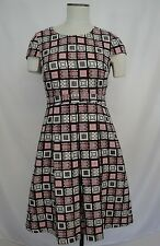 J. Crew Dress Sz 6 Colorful Geometric Square Pattern Cap Sleeve Fit and Flare