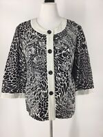 Chico's Women's Size 3 XL Classy Jacket Black & White Detail Prints Flare Sleeve
