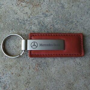 Mercedes-Benz Metal & Brown Leather Keychain Keyring