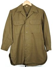 New listing Vintage Wwii M37 Olive Green Military Button Up Uniform Shirt 15-32
