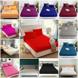 Full 30cm Fitted Sheet Bed Sheets 100% Poly Cotton Single Double King King Size