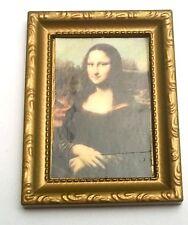tableau miniature,maison de poupée, vitrine,Mona Lisa, 8x6 cm, la Joconde  C4e