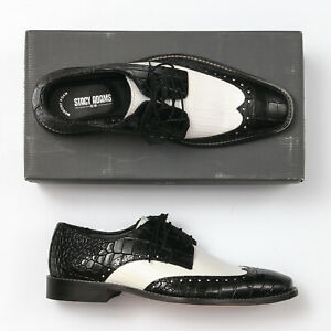Stacy Adams WINGTIP OXFORDS Vintage Classic Black Dress SHOES Mid Century Cut Out Leather Lace Up Oxford WingTips Modern Mens Shoe Size 12 M