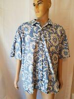 OP Ocean Pacific Hawaiian Shirt Reverse Print Floral Aloha Camp Mens Size XXL