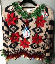 Ugly Cute Christmas Sweater Tacky Ladies Snowman Poinsettias Globe Lights SMALL