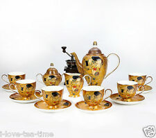 15 Pcs Bone china Tea Set Rare Gustav Klimt《Kiss》Coffee Set