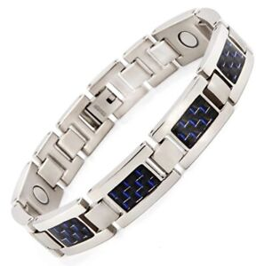 N+NITROLUBE Titanium Fashion Jewelry Blue Carbon Filter, Magnetic Bracelet for M
