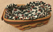 Longaberger Small Vegetable Basket Xmas Holly Berry Cloth & Plastic Liner Set 3