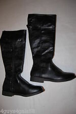 Womens Shoes BLACK KNEE HIGH BOOTS Zipper Sides Adjustable Buckle MOCK LEATHER 6