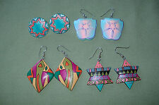 Lot 4 Sets Dangle & Post Earrings Hand Paint on Wood Abstract Star Shield Round
