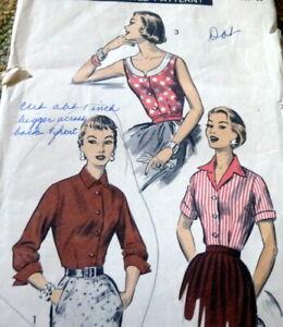 LOVELY VTG 1950s BLOUSE ADVANCE Sewing Pattern 12/30