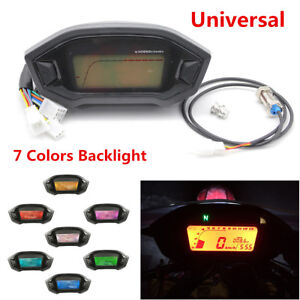 7 Colors Backlight Motorcycle LCD Digital Speedometer Odometer Tachometer Gauge