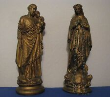"TWO 16½"" VINTAGE 1960's  HOLY FAMILY STATUES  MARY / JOSEPH HOLDING INFANT JESUS"