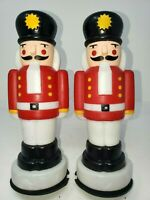 """Two Christmas Nutcracker Empire Blow Mold 10"""" Pathway Light Toppers 1995"""