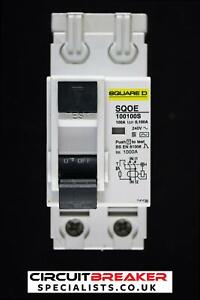 SQUARE D 100 AMP 100mA DOUBLE POLE TIME DELAYED RCCB RCD TYPE AC SQOE100100S