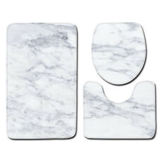3PCS Marbling Non-Slip Pedestal Rug Toilet Lid Cover Bath Mat Bathroom Set Decor