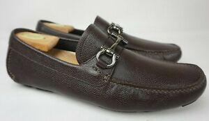 Salvatore Ferragamo Parigi Driving Shoes Dark Brown Bit Loafers Size 8.5 EE 2E
