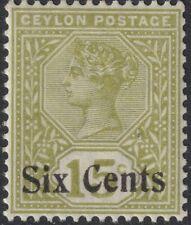 Sc# 159 Ceylon 1899 Queen Victoria QV 6 on 15 surcharge MNH CV $2.15