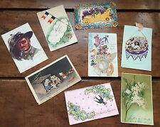 Lot 8 CPA Anciennes Cartes Postales - fantaisie des années 1900