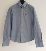 SUPERDRY CO Double Dart Long Sleeve 100% Cotton Check Shirt.Blue/White. Medium.