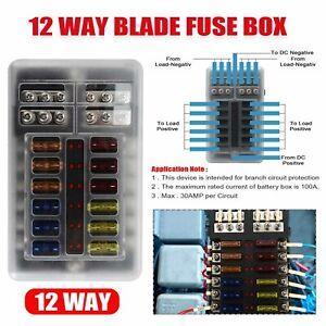 12 Way Blade Fuse Box Block Holder LED Light Indicator for Car Boat Van Marine