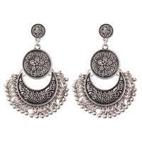 Women's Vintage Bohemian Boho Style Silver Carved Flower Tassel Stud Earrings