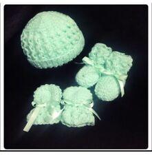 """Hand Knitted -Newborn Hat, Booties & Mittens Set """"Mint Green"""""""
