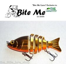 "85mm Gold Chrome ""Bite Me Lures"" Jointed Swimbait Fishing Lure Bass Jack Cod"