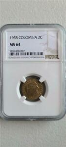Colombia 2 Centavos 1955 NGC MS 64