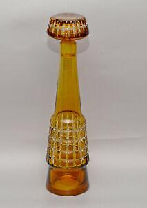 Val St. LAMBERT Charles Graffart Yellow Cut to Clear Glass GEOMETRIC DECANTER