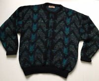 Vintage Jantzen Sz XL Black Turquoise Coogi Style Knit Sweater Cosby USA Made
