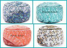 Indian Cotton Mandala Pouf Cover Floor Footstool Pouffe Ottoman Round Pillowcase