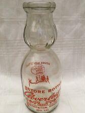 Vintage Quart Milk Bottle Cloverleaf Farm Stockton California Cream Top 1946