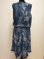 F206 KAREN MILLEN BLUE SLEEVELESS BUTTON FRONT CASUAL DRESS UK 14 US 10