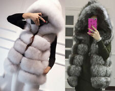 Women Luxury Fox Fur Gilet Coat Hooded Waistcoat Jacket  vest Ladies Warm Outwe