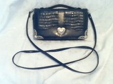 Langdon Faux Leather Reptile Croc Gator Wallet Phone Purse Heart Hand Bag Strap