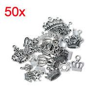 Wholesale 50pcs Bulk Tibetan Silver Mixed Crown Charm Pendants Jewelry DIY SL