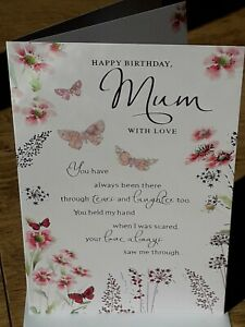 MUM HAPPY BIRTHDAY CARD TRADITIONAL DESIGN NICE LOVING VERSE BUTTERFLIES