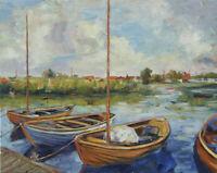 Art Original Oil Painting by RM Mortensen Seascape Boats Landscape 16 X 20