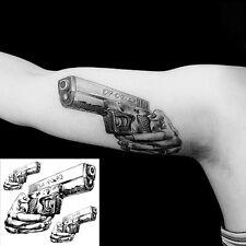 1 Sheet Temporary Tattoos Paper 3 Guns Design Tattoo Sticker Body Art Fake Tatoo
