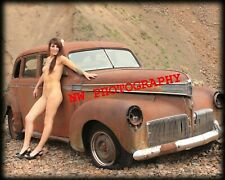 Nude Female Model with Vintage Car Color fine art photo print 8x10, Img No. 002