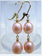 fine 9-11MM natural south sea pink pearl earring 14k yellow gold dangle style
