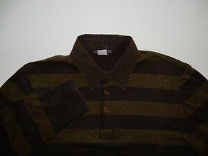 John Varvatos Men's Striped Long Sleeve Polo Shirt Size M Medium