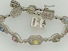 14K WHITE GOLD MULTI GEM STONES  DIAMOND BRACELET  6.75''