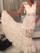 Flavio castellani Maxi white dress with embroideries woman size 2