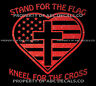 VRS Stand Flag Kneel Cross America National Anthem Christian CAR METAL DECAL