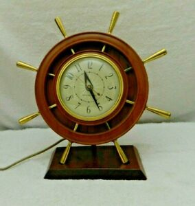 General Electric Ships Wheel Clock 2H67 Mid Century GE Vintage USA Made
