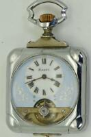 Antique Memento Mori  square case HEBDOMAS 8 Days pocket watch c1900's