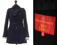 Women's VIVIENNE WESTWOOD Red Label Trench Coat Jacket Black Size IT 42 US 6